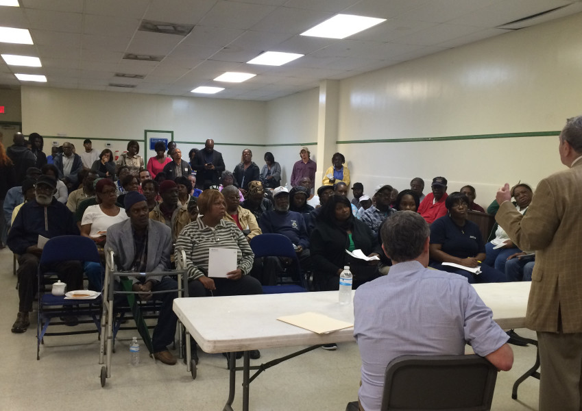 A standing room-only meeting at Gussie Green Community Center